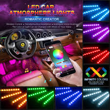 App Controlled Interior Car Lights Car Led Strip Lights Wsiiroon 4pcs 48 Led Bluetooth App Controller Interior Lights Multi Color Music Car Strip Light Under Dash Lighting Kit With