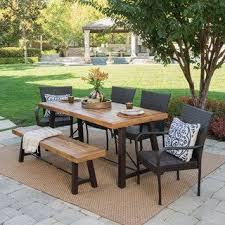 Wood outdoor patio furniture Heavy Duty Garden Salons Outdoor 6piece Rectangle Wicker Wood Dining Set By Christopher Knight Home Footymundocom Wood Patio Furniture Find Great Outdoor Seating Dining Deals