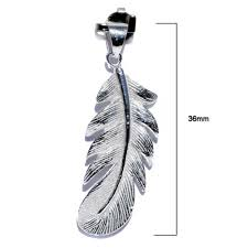 native american feather silver pendant p046