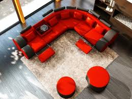 airy red and black ottoman living room