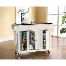 crosley white kitchen cart with black granite top