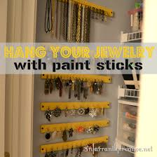 Additional ideas: put up cork board squares and put stick pens in it to hang  earrings. Stick pens in the sheetrock walls for necklaces.