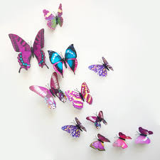 Hot 12pcs 3d butterfly magnet wall stickers home decorative kid .