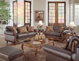 brown leather living room furniture. Leather Living Room Sets Awesome Classic Design Wooden Framework Brown Faux Seat Cover Foam Padding Enhancement Furniture