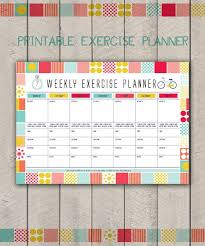 Printable Fitness Organiser Gym Diary Weekly Exercise Planner