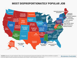 Most Common Job Disproportionately Popular Job In Every State Map Business
