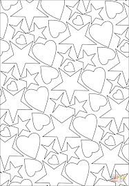 Small Picture Hearts and Stars Pattern coloring page Free Printable Coloring Pages