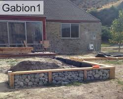 Small Picture Gabion and timber retaining wall combination httpwwwgabionsco