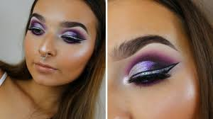 holographic liner purple cut crease full face makeup tutorial