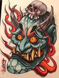 эскизы масок хання значение татуировки с маской хання Newschool