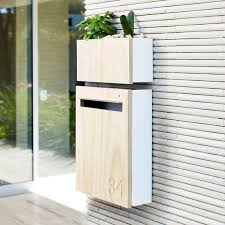 modern mailbox with wall planter