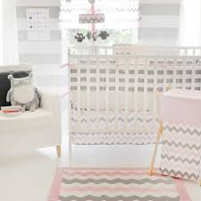 chevron in pink gray 4pc crib bedding set