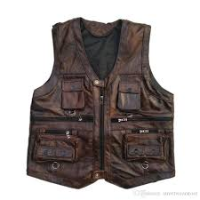 vest mens leather waistcoat real leather motorcycle vest with many pockets photography vest sleeveless jacket with 92 22 piece on streetwear s