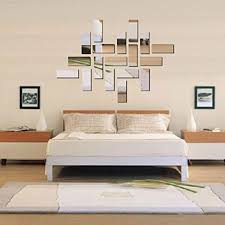 wall decor silver acrylic 3d rectangle design mirror effect crystal mural wall sticker removable decal