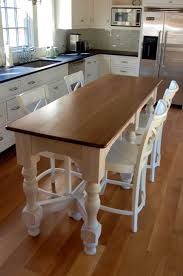 Floor For Kitchen White Narrow Dining Table Have 4 White Wood Chairs Above Wood