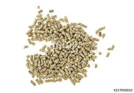 Pile of compound feed pellets isolated on white background