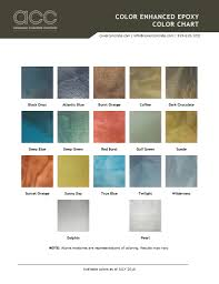 Color Enhanced Epoxy Color Chart Advanced Concrete Coatings