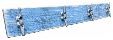 Boat Cleat Coat Rack Extraordinary Nautical Distressed Blue Boat Cleat Coat Rack Beach Style Wall
