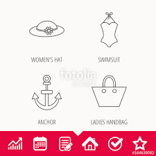 Anchor Ladies Handbag And Swimsuit Icons Swimsuit Linear