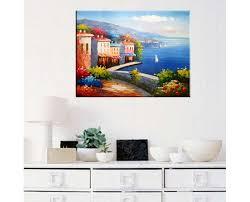 creative modern art painting rich retro seaside house canvas wall art home decor unframed  on home wall art painting with buy landscape oil painting on canvas unframed art wall decoration