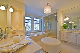 white leather ottoman bathroom contemporary with blinds chandelier double sinks1