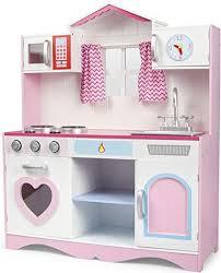 Leomark Cocina Rose Play Corazón Cocina Madera Infantil Cocina De Juguete  Accesorios Para Niñas 82x30x101 Ventana