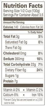 organic vegetarian traditional refried beans nutrition facts