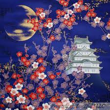 BonEful Fabric FQ Cotton Quilt Purple Asian Flower Cherry Tree Gold Moon  Girl Lg #KonaBayFabrics