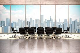 modern office interior. Modern Office Interior With Beautiful Worm Daylight And City Skyline In The Background \u2014 Stock Photo