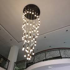 led rain drop lights long spiral chandelier indoor staircase lighting modern staircase lamp spiral lights aisle hallway pendant lamps hanging lights