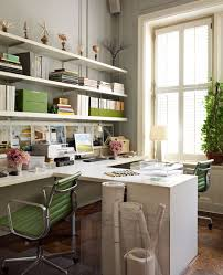 office floating shelves. White \u0026 Green Modern Office Design With Gray Walls Paint Color, Desks, Eames Aluminum Management Chairs In Apple And Floating Shelves. Shelves L