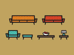 creative furniture icons set flat design. furniture set creative icons flat design