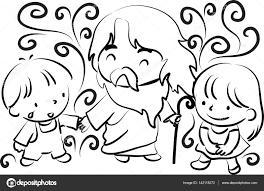 Jezus En Kinderen Stockvector Wenpei 142118272