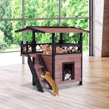 pawhut cat house den wooden maisonette shelter bed fence stair step dog pet hut