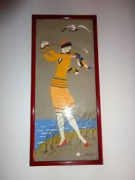 TABLEAU ART DECO SIGNE, JEUNE FILLE AU GOLF gouache peinture 1930 ...