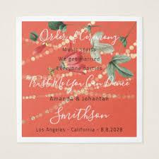 Wedding Program Coral White Funny Quotes Gold Napkin