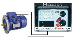 test a 3 phase motor by using a megger