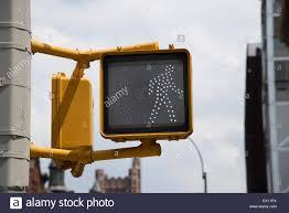 Walking Sign Light Pedestrian Crossing Walking Man Sign In New York Usa Stock
