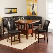 leather breakfast nook furniture. Rectangle Varnished Brown Wooden Table With Single Shelf And Drawer Combined Corner Black Leather Bench Back Also Legs Breakfast Nook Furniture