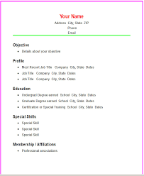 Best Photos Of Basic Resume Template Word Simple Basic Resume