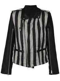 ann demeulemeester striped black biker jacket for men on