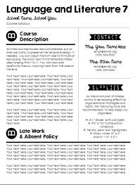 weekly syllabus template customizable syllabus templates updated hello teacher lady