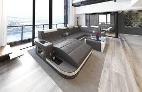 Sofa Wohnlandschaft Frankfurt U Form Mit Led Grau Weiss Vadano Sofas Auf Amazon