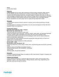 Barista Resume New Barista Resume Resume