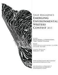 sage emerging environmental writers contest  sage contest final flyer
