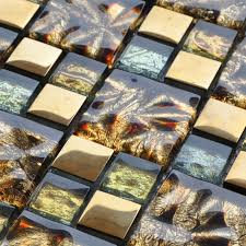 gold glass mosaic tiles blacksplash crystal backsplash tile bathroom wall tiles plated glass nm077