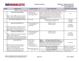 Miracote Color Chart Miraflex Ii Systems Viii And Ix For Concrete Substrates