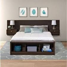This King size Floating Headboard with Nightstands in Espresso with  nightstands maximizes your available floor space