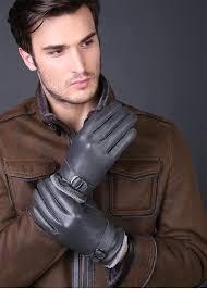 new fashion genuine leather gloves men winter deerskin buckles bur warm cotton gloves leather driving gloves