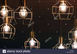 Chandelier With Hanging Bulb Lamps Yellow Led Lighting Elements